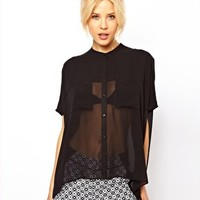 ASOS Blouse With Sheer Panels And Double Pockets at asos.com
