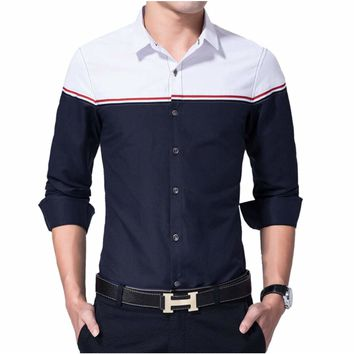 Mens Two Tone Button Down Shirt Navy