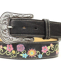 Ariat Women's Western Floral Embroidered Black Leather Belt