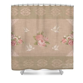 Vintage Pink Roses Shower Curtain
