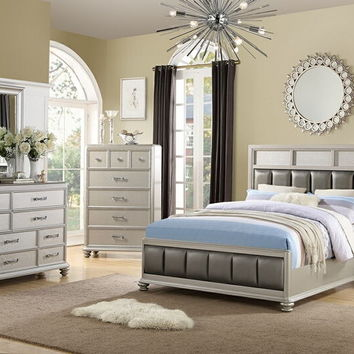 4 pc Sheila III collection silver faux leather tufted upholstered queen bed set