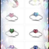 .925 Pure Sterling Silver Heart Ring with Heart-Shaped Box