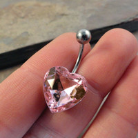 Pink Crystal Heart Belly Button Jewelry Belly Ring