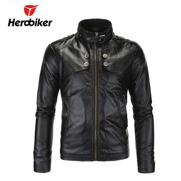 Trendy HEROBIKER Chaqueta Motorcycle Jackets Men Vintage Retro PU Leather Jaqueta Racing Punk Classical Casual Windproof Moto Jacket AT_94_13