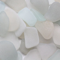 Tiny - Small Off White Sea Glass Cream White Beach Glass Jewelry Quality 40 pcs