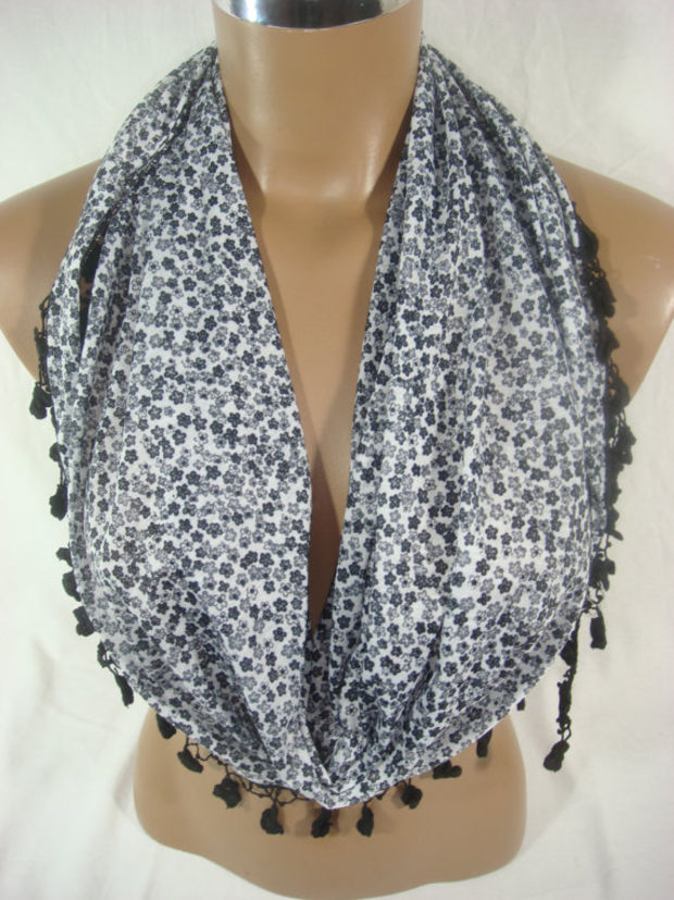 B20 Eternity Houndstooth Textured Ruffle Black Brown Infinity Scarf Boutique
