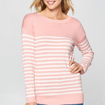Blush Striped Elbow Patch Top