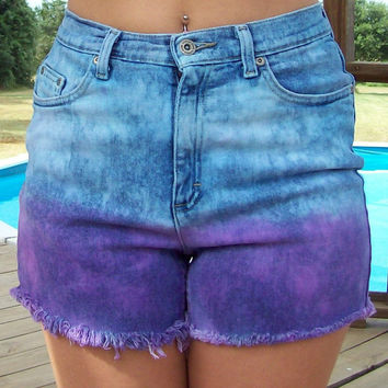 High Waisted Bleached and Dyed Shorts Size 8 by DenimAndStuds