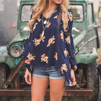 Gypsy Floral Crochet Peasant Top (Navy)
