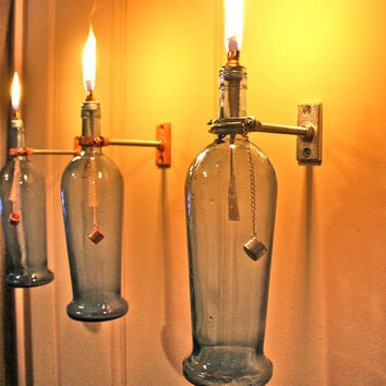 Blue Wine Bottle Oil Lamp INDOOR Modern by GreatBottlesofFire