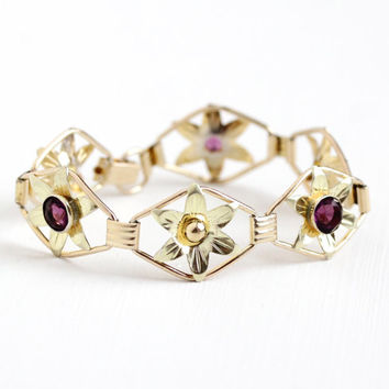 Vintage 12k Rose & Yellow Gold Filled on Sterling Silver Simulated Amethyst Bracelet - 1940s Purple Glass Stone Flower Statement Jewelry