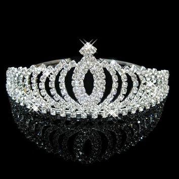 Bridal Bridesmaid Crystal Rhinestone Crown Tiara Headband Wedding Party Prom = 1932623044
