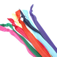 Elastic Headband Package - 8 Stretchy FOE Headbands - Workout Hairbands for Running or the Gym - Bright Fabric Headbands