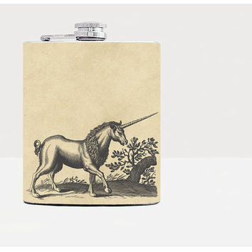 Unicorn Flask -  Hip flask - Flask for women - Beige - Stainless Steel Flask - 7oz