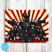Akatsuki Team Naruto Anime Poster Print Wall Decor Canvas Print - piegabags.com
