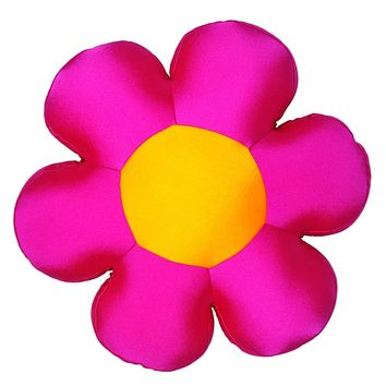 DaDa Bedding's Fun Cute Squishy & Soft Groovy Flower Throw Micro-Bead Cushion Pillow - Hot Pink - 18""
