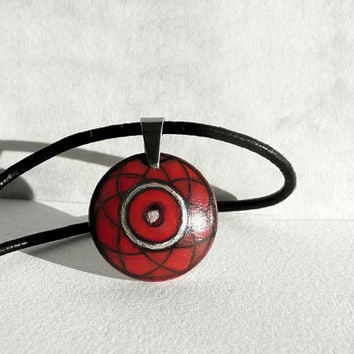 "Chic Hand Painted Pendant Red Pendant 0,8"", Red Choker Wood Pendant, Leather Cord Necklace, Tiny Pendant Wooden Handmade Jewelry, Artdora"