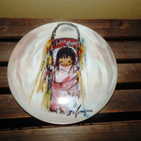"Mother's Day Gift - Ted DeGrazia ""PINK PAPOOSE"" The Children Series"" Collectors Plate 1984 - Native american Art"