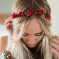 Dainty Red Flower Crown