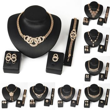 LNRRABC 4 piece Fashion Women jewelry sets Crystal Bridal Necklace Earrings for ladies Party jewelry sets men jewelry maquiagem