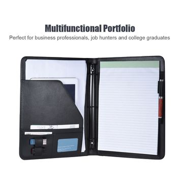 Professional Business Portfolio Folder Document Case Organizer Leather A4 Padfolio PU with Business Card U Flash Disk Holder