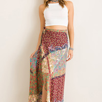 Patchwork Wrap Maxi Skirt - Wine