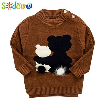 Sodawn Baby Boy Clothes Kids Sweater 2017 Autumn Winter Boy Cartoon Sweater Infant Round Neck Sweater Fashion Children Sweater