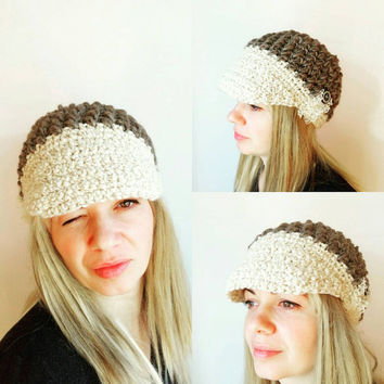Women Grey Crochet Hat Ecru White Hat Womens Visor Hat Crochet Lace Beanie Hat Puff Stitch Hat Button Chunky Crochet Hat Hat Cool Winter Hat