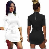 Fashion Autumn Winter Women T Shirt Dress 2015 Loose Black White Casual Dress Half Sleeve Sexy Mini Dress Party Ninght Club Wear
