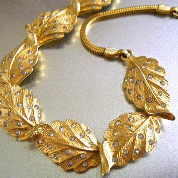 Gold Leaf PENNINO Rhinestone Necklace, Snake Chain, Signed Vintage