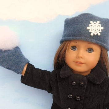 Felted Wool Doll Hat and Mittens, Blue Hat and Mittens fits 18 Inch Dolls such as American Girl Dolls, Winter Doll Clothes, Upcycled