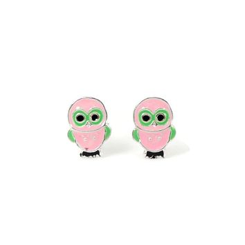 Sterling Silver Children's Pink and Green Owl Earrings