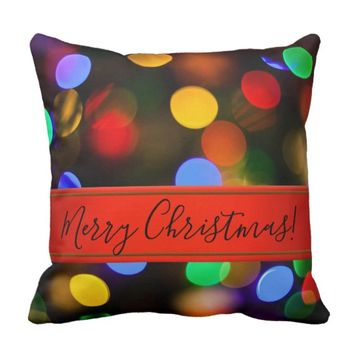 Multicolored Christmas lights. Add text or name. Throw Pillow