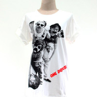 One Direction T Shirt 1D Detection Women Short Sleeve T Shirts White Tee Shirts Men Shirts Women Unisex T-Shirt Size XL