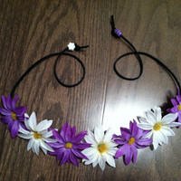 Purple & White Daisy Flower Headband, Flower Crown, Flower Halo, Festival Wear, EDC, Ezoo, Ultra, Coachella, Rave, Beach, Hippie Headband