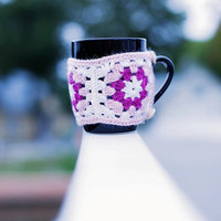 Crochet mug cozy, pink granny square coffee cup warmer, mug cozy, tea cup cozy