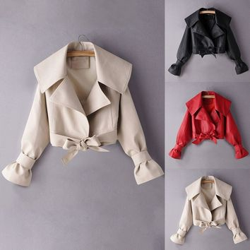 Women Casual Fashion Faux Leather Bow Jacket