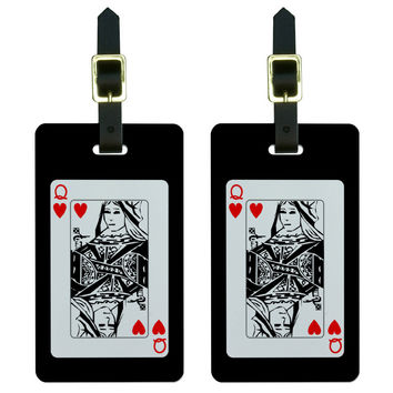 Playing Cards Queen of Hearts - Poker Luggage Tag Set