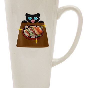 Anime Cat Loves Sushi 16 Ounce Conical Latte Coffee Mug by TooLoud