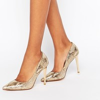 Dune Betsee Gold Metallic Leather Heeled Court Shoes