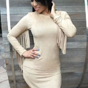 Chicloth Beige Fringed Long Sleeves Faux Suede Mini Dress