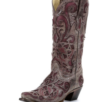Corral Women's Brown Crater/Purple Inlay Boot - R1081