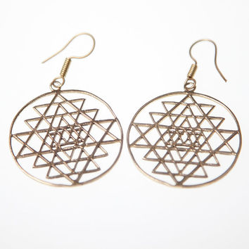 Sri Yantra Earrings, Brass Tribal earrings,Tribal Earrings, Boho Earrings, Indian Jewellery, Gold earrings, Gypsy Earrings, Boho Jewellery