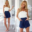 White and Blue Floral Pattern Color Block Crochet Romper