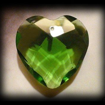 4 Large Divine Love Crystal Heart Pendant Green Faceted 36mm big large jumbo hearts