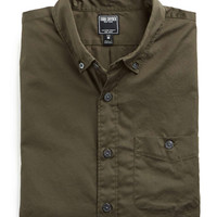 Button-down Collar Shirt in Garment Dyed Olive Poplin