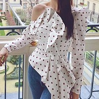 Fashion Women Blouse Sexy One Shoulder Polka Dot Tops and Blouse Female Ruched Long Sleeve Ruffle Chic Shirt
