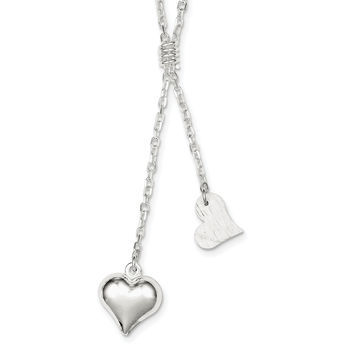Sterling Silver Polished & Textured Puffed Heart Fancy Drop Necklace QG2881