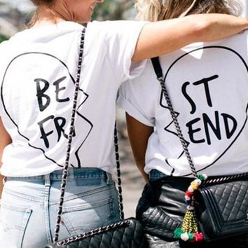 Summer Best Friends T Shirt Print Letter BE FRI ST END Women T-shirt Fashion Short Sleeve Women Clothing White Black