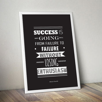 Sucess life quote winston churchill motivational wall decor poster art gym quote inspirational life black and white minimalistic print